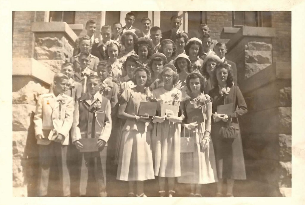 "Description of . Writes THE REDBIRD: ""With graduations approaching, here is a picture of the 1949 graduating class of St. Raphael grade school in Montgomery, Minn. Notice the girls' Sunday 'go-to-meeting' dresses."""