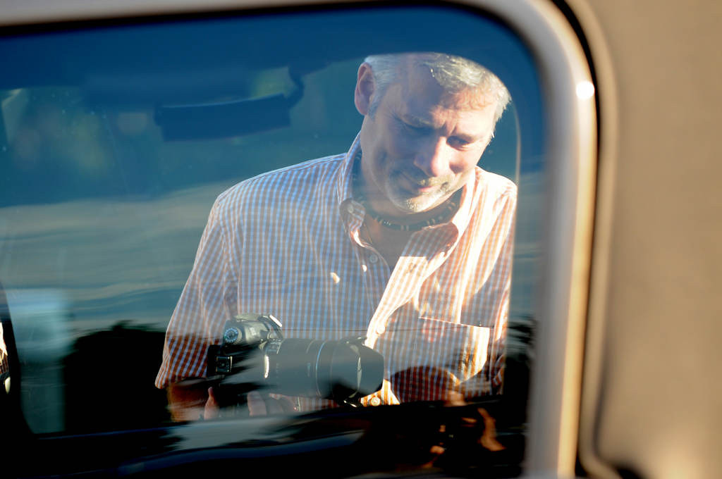. Dave Youngren gets back in his car to go to work after taking photos of the bridge on Wednesday September 11, 2013. See more of his bridge photos at https://www.facebook.com/pages/Hastings-Bridge-Watch-Hastings-MN/160973600582723  (Pioneer Press: Jean Pieri)