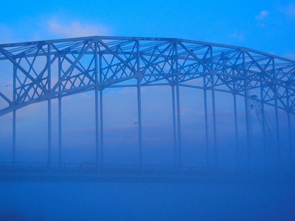 . The Hastings bridge is shrouded in fog on March 26, 2012. Photo courtesy of Dave Youngren/Hastings Bridge Watch.