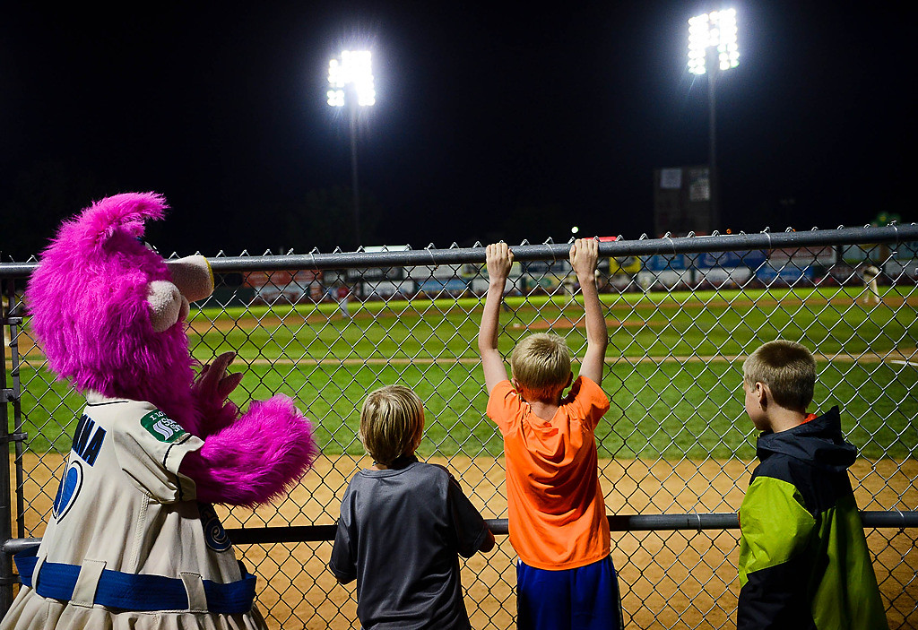 . Saints mascot Mudonna hangs out with children as the St. Paul Saints play. (Pioneer Press: Ben Garvin)