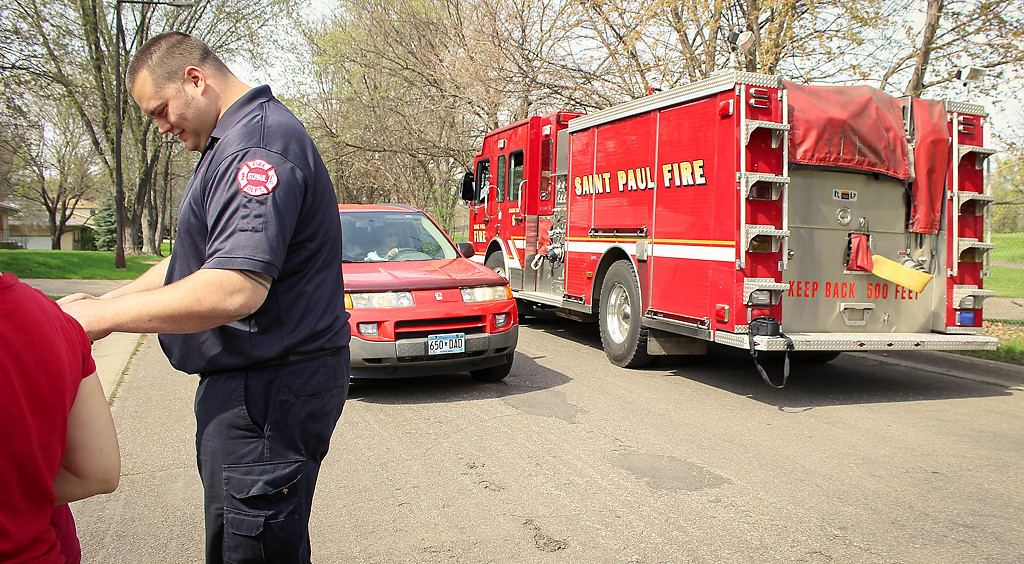 . The firetruck ridden by the duck-saving firefighters.