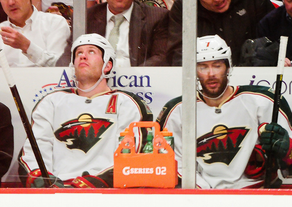 . Minnesota center Matt Cullen, right, and defenseman Ryan Suter were both called for penalties in the third. (Pioneer Press: Ben Garvin)