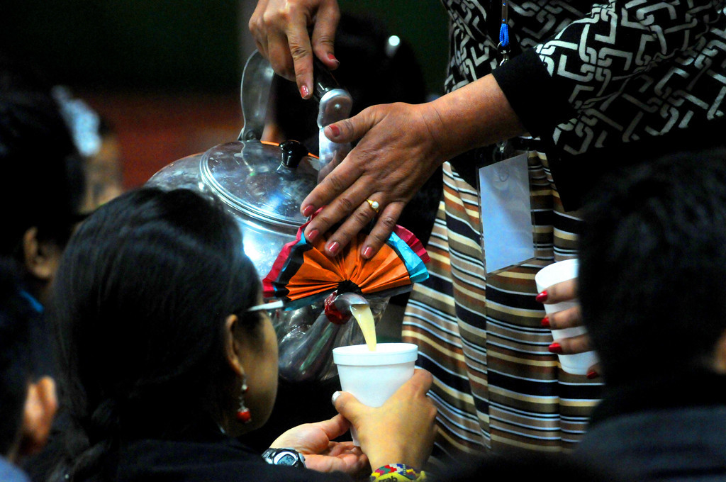 . During the Solia and Dresil prayer, many cups of ceremonial Tibetan tea and cups of sweet rice are given out to those in attendance. (Pioneer Press: Sherri LaRose-Chiglo)