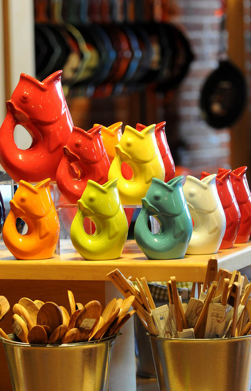 . Colorful Gurgle Pots, which produce a whimsical gurgling sound after pouring a beverage, are among the kitchen gadgets at Cooks of Crocus Hill\'s Stillwater location. (Pioneer Press: Jean Pieri)
