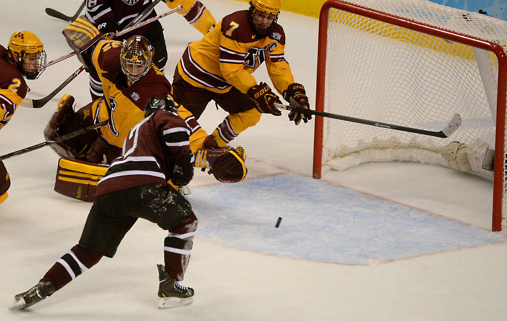 . Union College junior forward Daniel Ciampini has a clear shot clear shot as Union catches Minnesota sophomore goalie Adam Wilcox out of position in the first period of the NCAA Frozen Four Championship Game at the Wells Fargo Center in Philadelphia, Saturday, April 12, 2014. A rattled Wilcox gave up four goals in the the first period. (Pioneer Press: John Autey)