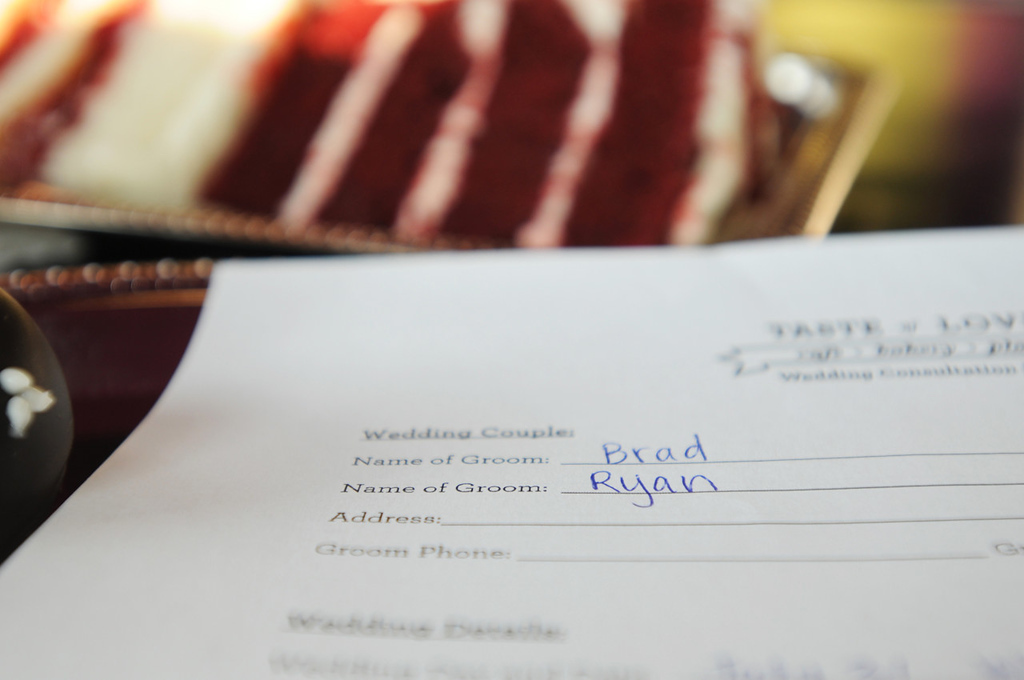 . An order form sits on a table created for Brad Weber and Ryan Pfeifle at Taste of Love Bakery, where they selected wedding cakes.  (Pioneer Press: Ginger Pinson)