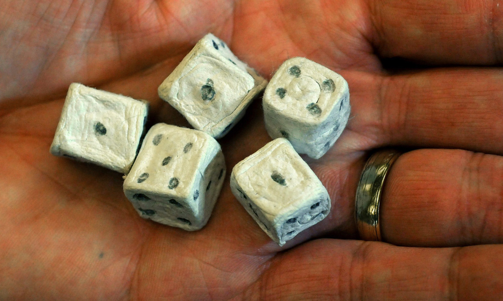. A set of dice was made from paper and toothpaste. (Pioneer Press: Jean Pieri)