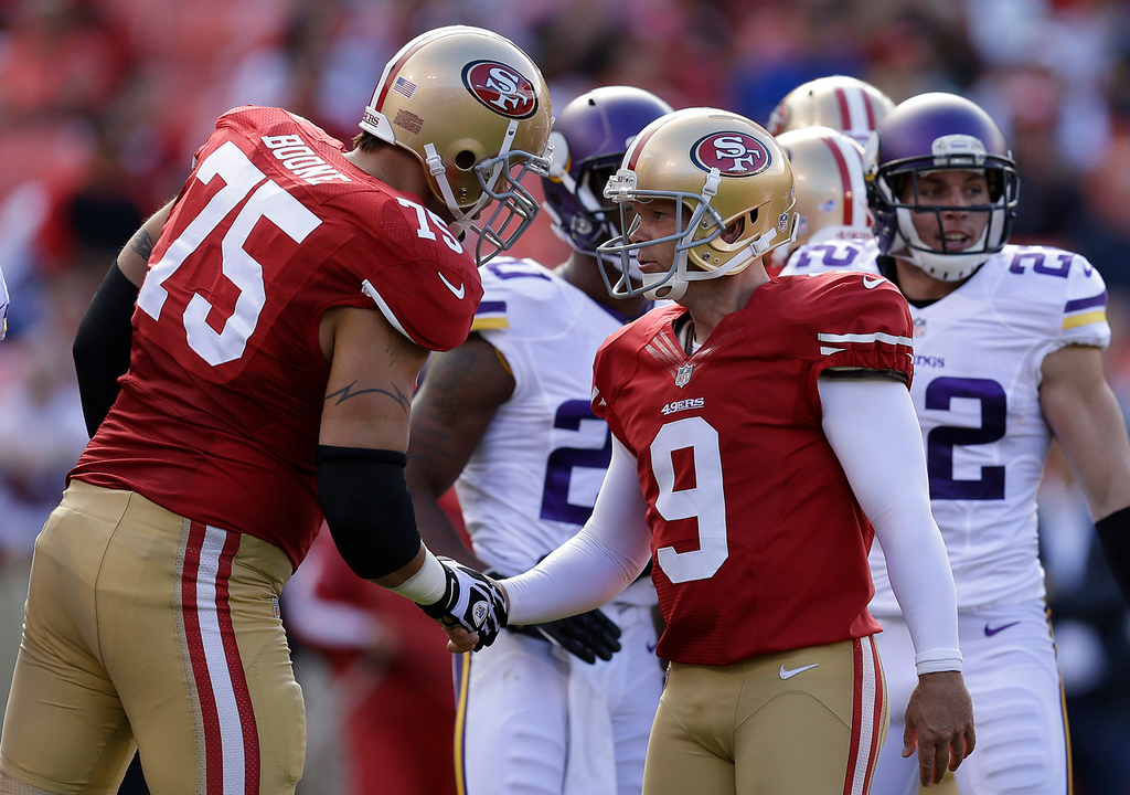. 49ers kicker Phil Dawson celebrates after kicking a 30-yard field goal with offensive tackle Alex Boone, left, during the first quarter. (AP Photo/Ben Margot)