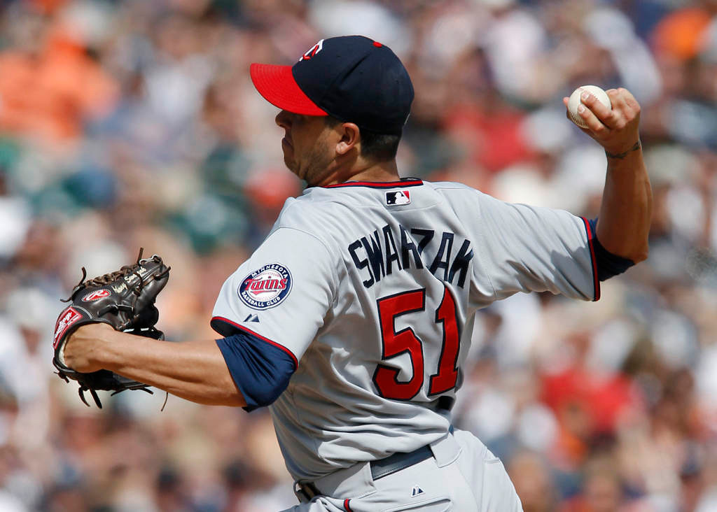 . Anthony Swarzak, of the Minnesota Twins, pitches against the Detroit Tigers in the eighth inning. (Photo by Duane Burleson/Getty Images)