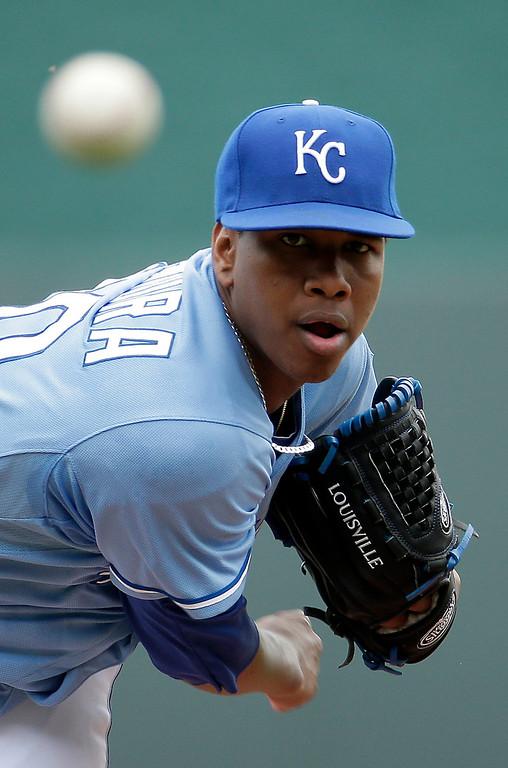 . Kansas City Royals\' Yordano Ventura throws during the first inning. (AP Photo/Charlie Riedel)