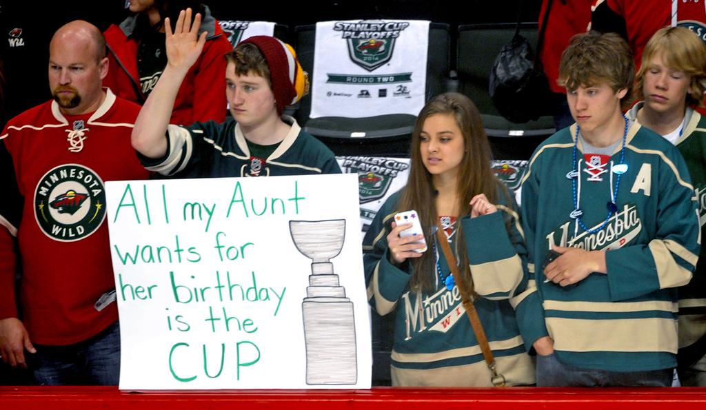 . Minnesota fans pine for the Cup during warm ups prior to the start of Game 6 between the Wild and the Blackhawks.   (Pioneer Press: Sherri LaRose-Chiglo)