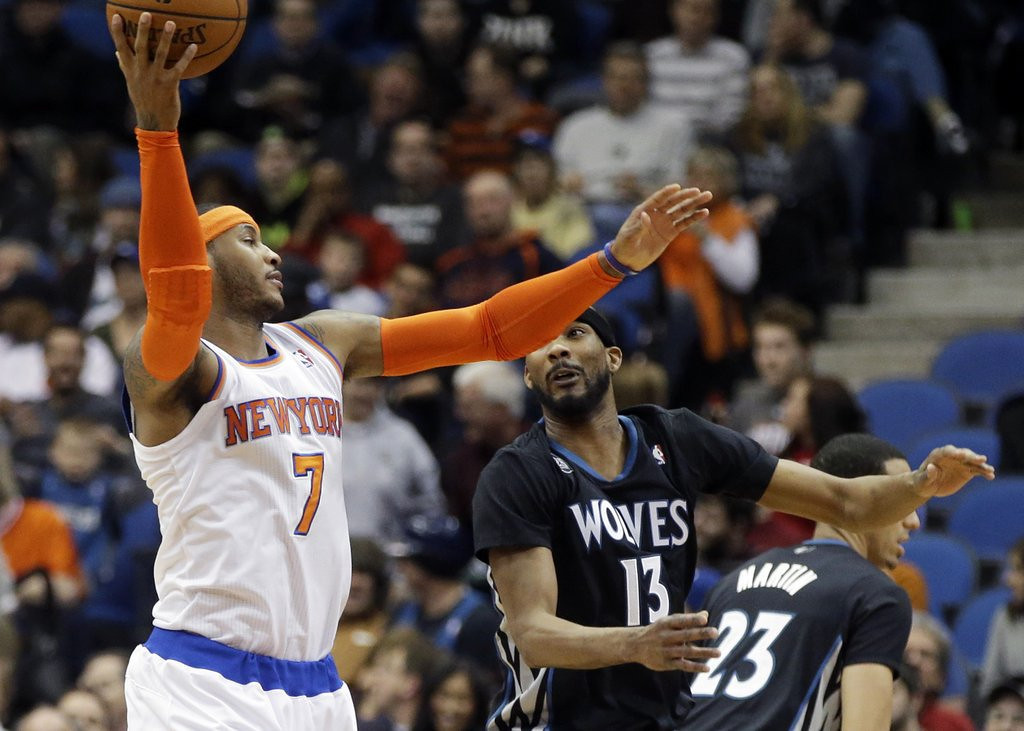""". <p>2. MINNESOTA TIMBERWOLVES <p>The Knicks? Seriously?  (unranked) <p><b><a href=\'http://www.twincities.com/sports/ci_25284886/minnesota-timberwolves-carmelo-anthony-knicks-too-tough-beat\' target=\""""_blank\""""> HUH?</a></b> <p>    (AP Photo/Jim Mone)"""