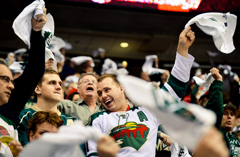 . Wild fans react after a slashing penalty is called on Colorado\'s Maxime Talbot in the second period.  (Pioneer Press: Ben Garvin)
