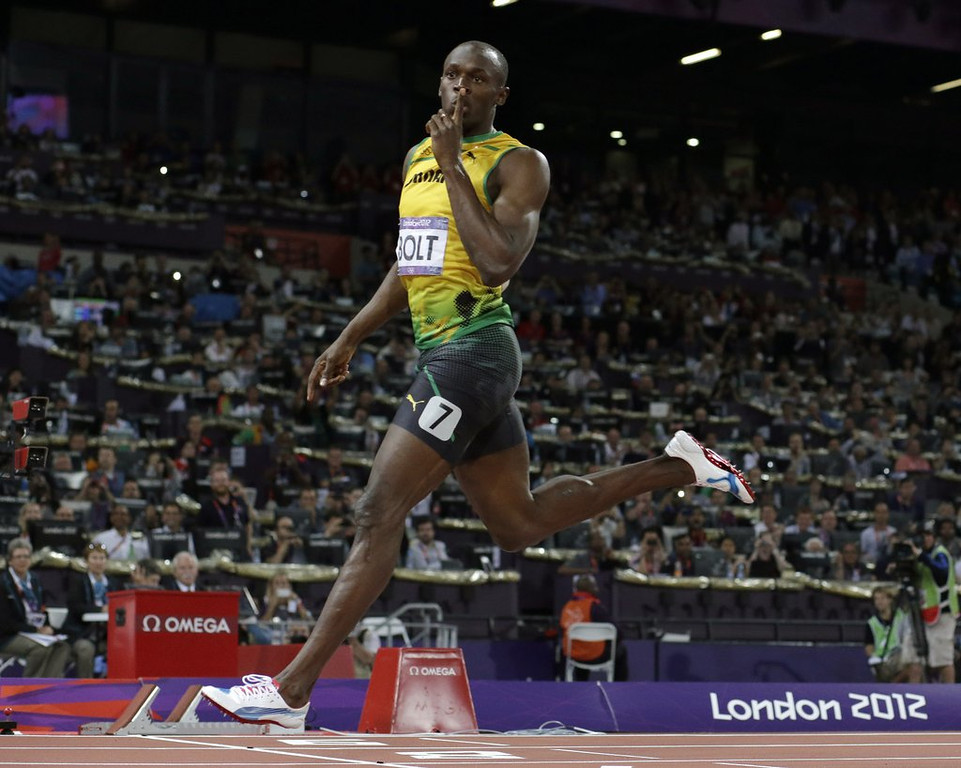 """. <p><b> World champion sprinter Usain Bolt says he plans on doing this right after the 2016 Rio Olympics � </b> <p> A. Retire  <p> B. Switch to a new sport  <p> C. Stop taking his undetectable steroids  <p><b><a href=\'http://www.twincities.com/sports/ci_24012111/usain-bolt-worlds-fastest-human-retire-after-rio\' target=\""""_blank\"""">HUH?</a></b> <p>    (AP Photo/David J. Phillip)"""