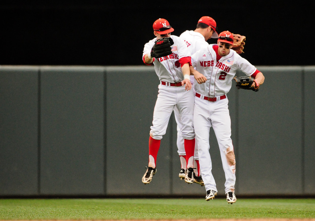 . Nebraska players celebrate their 7-4 win over Minnesota .(Pioneer Press: Ben Garvin)