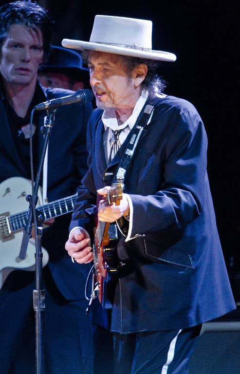 . U.S musician Bob Dylan performs at the London Feis Festival, in Finsbury Park, Saturday, June 18, 2011, just weeks after his 70th birthday. (AP Photo/Joel Ryan)