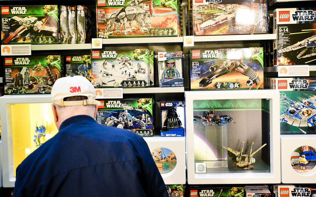 . A wall of Star Wars Lego sets on display at the Lego store at Mall of America in Bloomington on Tuesday, October 29, 2013. �We have sold well in excess of 200 million boxes of Star Wars Lego products since 1999,� said Michael McNally, brand relations director for The Lego Group.  (Pioneer Press: Ben Garvin)