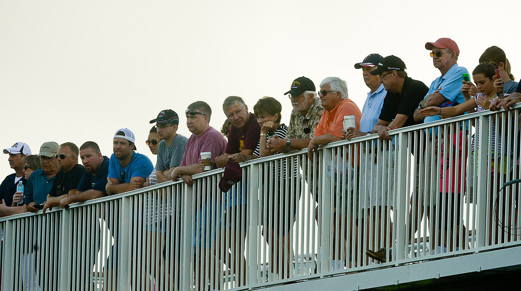 . Fans watch from above as player run through Kelly\'s drill. (Pioneer Press: Ben Garvin)