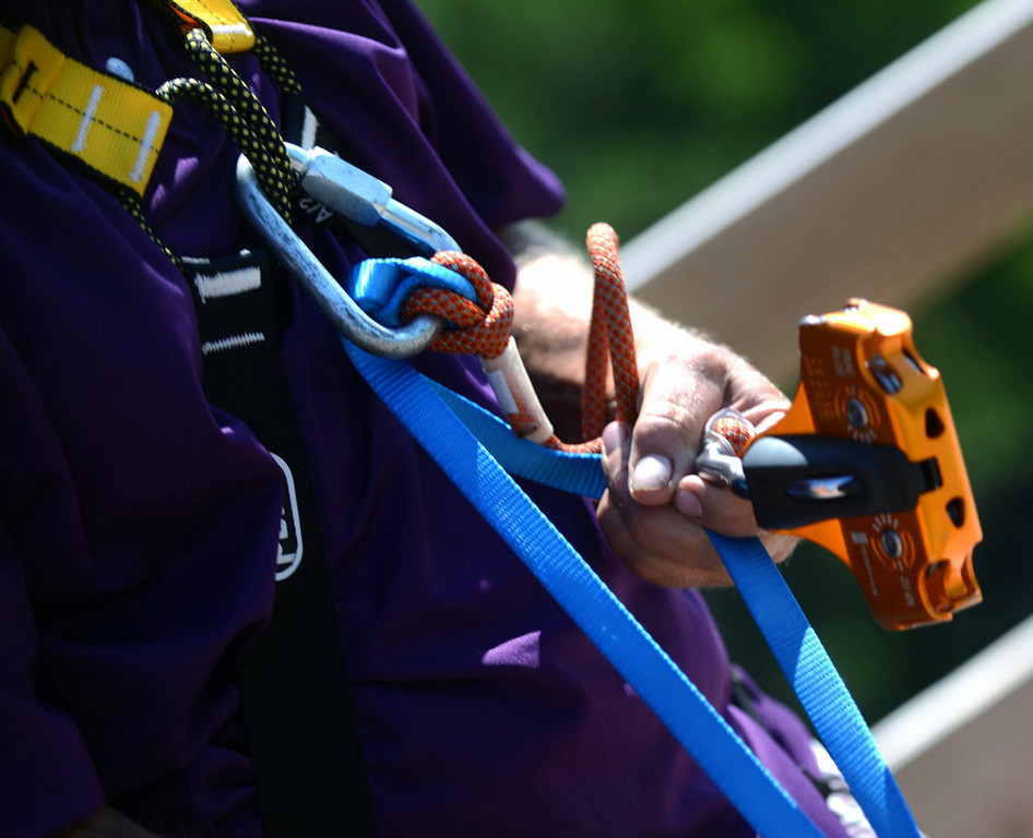. Some of the safety equipment utilized by guests at the Aerial Adventure Park at Trollhaugen in Dresser, Wisconsin. (Pioneer Press: Chris Polydoroff)