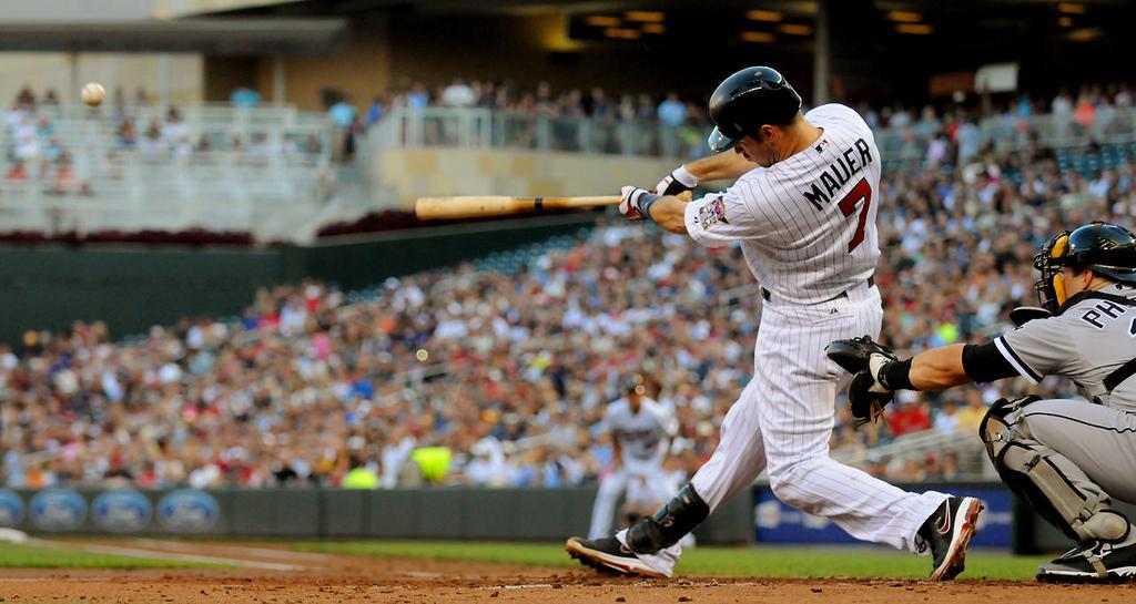 . Joe Mauer belts a solo home run. (Pioneer Press: John Autey)