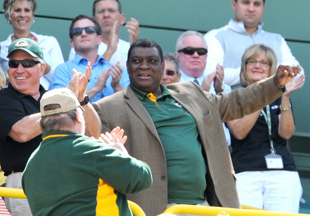 . Former Packers player Dave Robinson is recognized during the annual shareholders meeting at Lambeau Field. (AP Photo/The Green Bay Press-Gazette, H. Marc Larson)