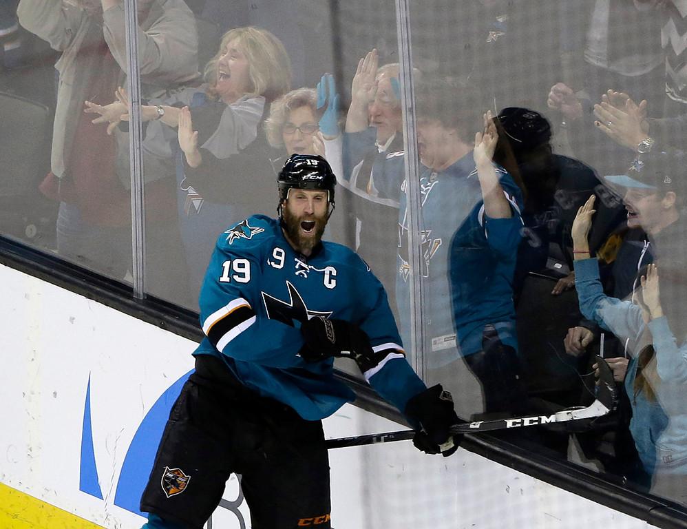 . San Jose Sharks\' Joe Thornton celebrates his game-winning goal during overtime of an NHL hockey game against the Minnesota Wild on Saturday, Jan. 25, 2014, in San Jose, Calif. San Jose won 3-2 in overtime. (AP Photo/Marcio Jose Sanchez)