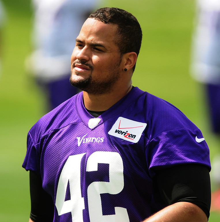 """. \""""I can just be myself. I can enjoy football, like I used to, and just be the best player I can be,\"""" said Vikings fullback Jerome Felton about his new three-year contract, during the team\'s minicamp on Tuesday.  (Pioneer Press: Scott Takushi)"""