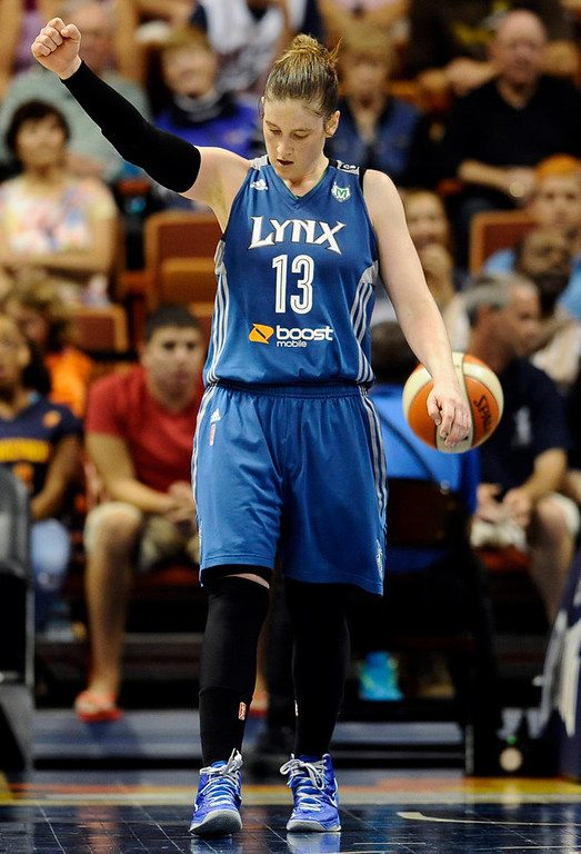 . Minnesota Lynx\'s Lindsay Whalen reacts during second-half action. (AP Photo/Jessica Hill)