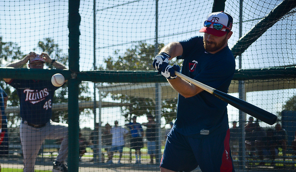 . Twins outfielder Jason Kubel hits one on the screws in the cage. (Pioneer Press: Ben Garvin)