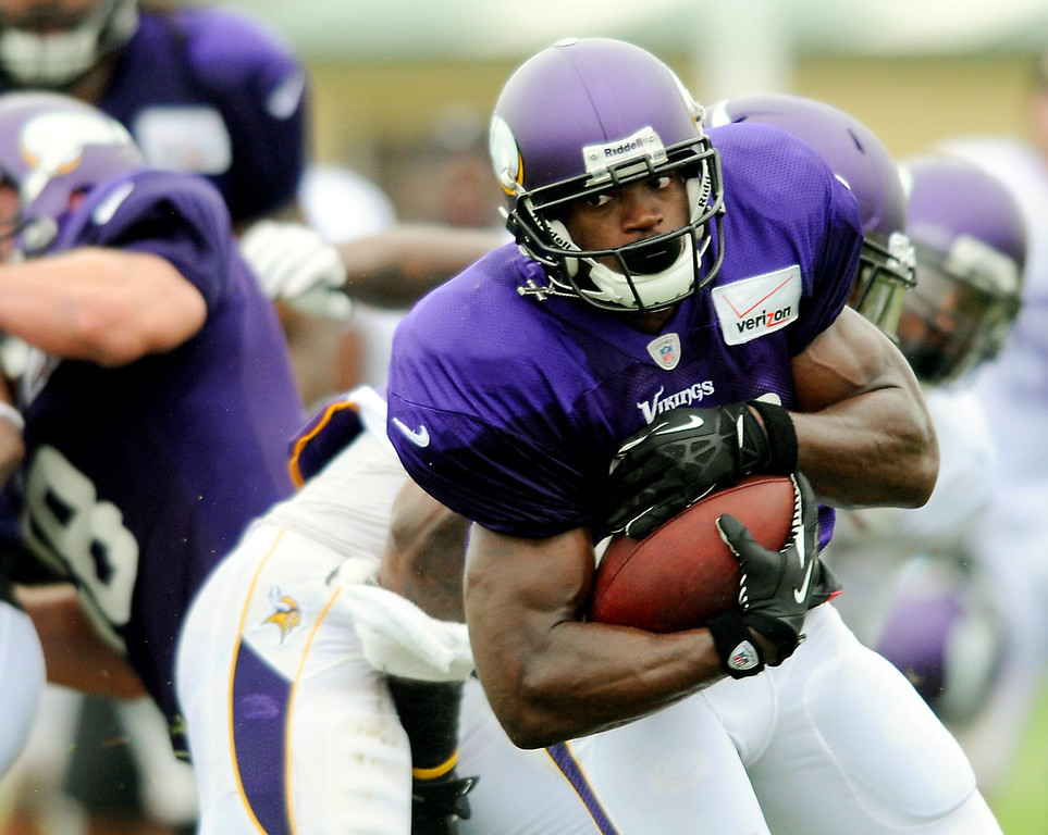 . Running back Adrian Peterson carries the ball.  (Pioneer Press: John Autey)
