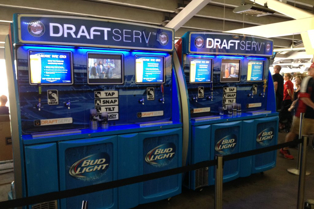 """. <p><b> Folks attending Twins games at Target Field can now conveniently purchase this for about 40 cents per ounce � </b> </p><p> A. Self-serve beer </p><p> B. Fountain drinks </p><p> C. Any player on the Twins roster </p><p><b><a href=\""""http://www.twincities.com/twins/ci_26103910/twins-debut-self-serve-beer-machines\"""" target=\""""_blank\"""">LINK</a></b> </p><p>   (Photo courtesy of Delaware North Sportservice)</p>"""