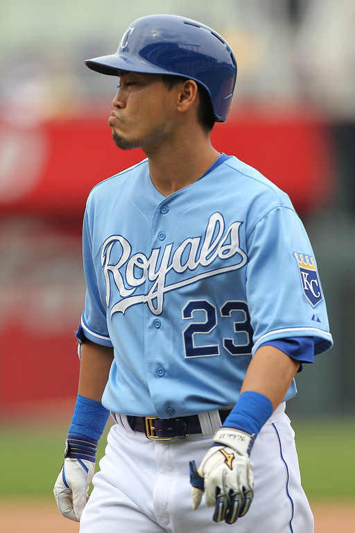 . Norichika Aoki #23 of the Kansas City Royals reacts after flying out in the fifth inning against the Minnesota Twins. (Photo by Ed Zurga/Getty Images)