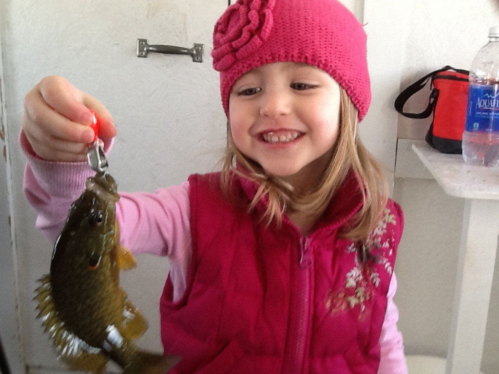 . Amelia Ehrenberg, 4, of North St. Paul, caught this sunfish ice fishing on Chisago Lake during a cold snap in February. SHe enjoyed the afternoon with Dad and Grandpa Dennis. (Photo courtesy Dennis Moravec)