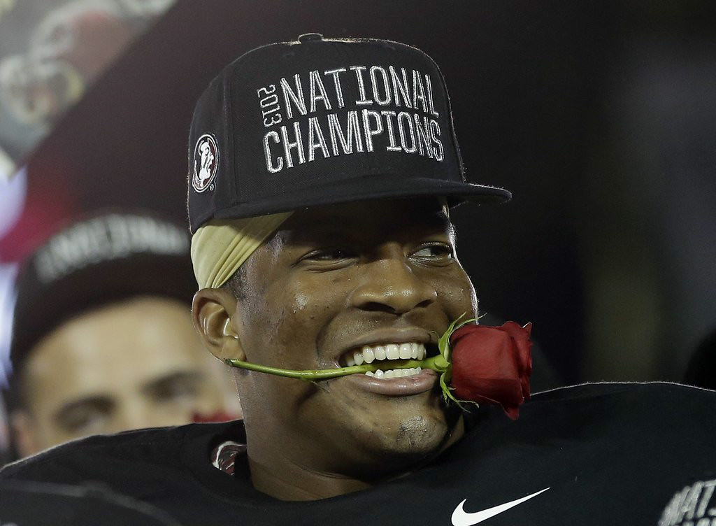""". 7. (tie) FLORIDA STATE SEMINOLES <p>No. 1 in the nation in season-opening poll. �Free� crab legs for everyone! (unranked) </p><p><b><a href=\""""http://www.usatoday.com/story/sports/ncaaf/2014/07/31/amway-coaches-poll-florida-state-no-1/13366343/\"""" target=\""""_blank\""""> LINK </a></b> </p><p>    (AP Photo/David J. Phillip)</p>"""
