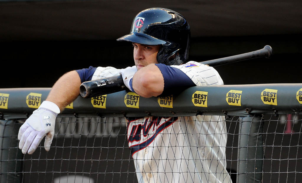 . Minnesota\'s Brian Dozier waits for his turn at bat during the second inning. (Pioneer Press: Sherri LaRose-Chiglo)