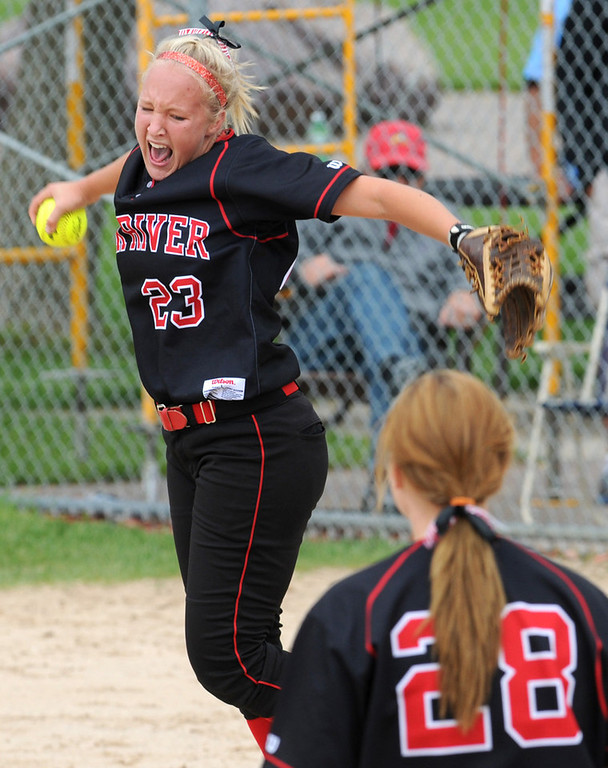 . Elk River infielder Courtney Jensen celebrates the Elks\' 4-3 win over Prior Lake in their state Class AAA softball championship game. (Pioneer Press: Jean Pieri)