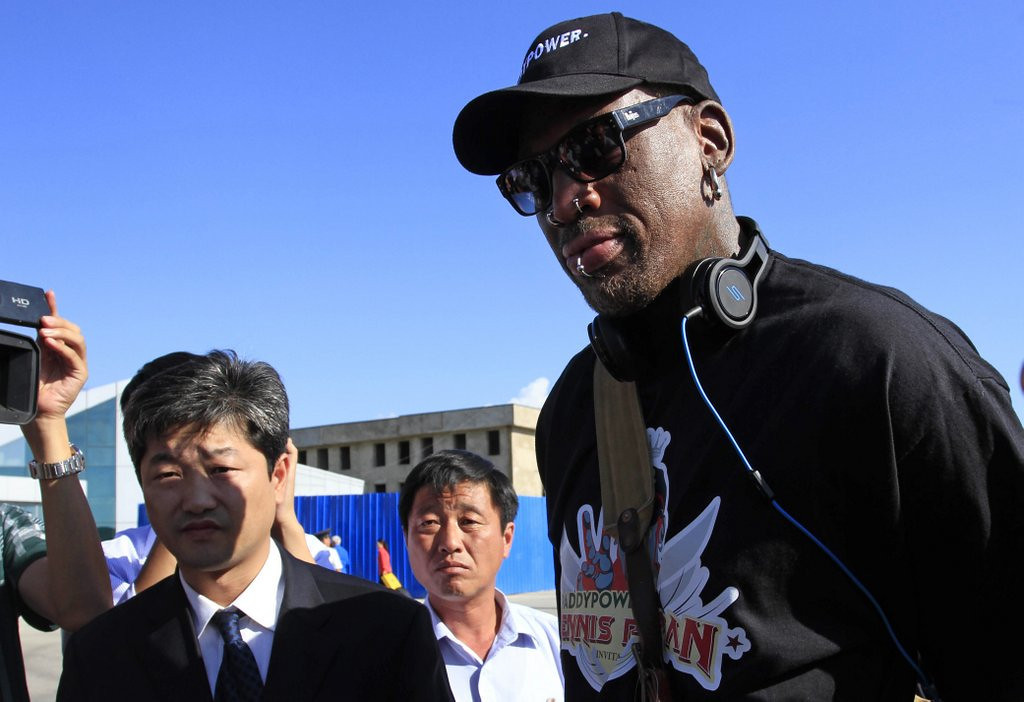 """. <p>2. DENNIS RODMAN  <p>One of these days his North Korean buddy won�t let him return home � and we are going to LAUGH! (unranked) <p><b><a href=\'http://www.usatoday.com/story/sports/nba/2013/09/03/dennis-rodman-north-korea-kim-jong-un/2756689/\' target=\""""_blank\""""> HUH?</a></b> <p>    (AP Photo/Jon Chol Jin)"""