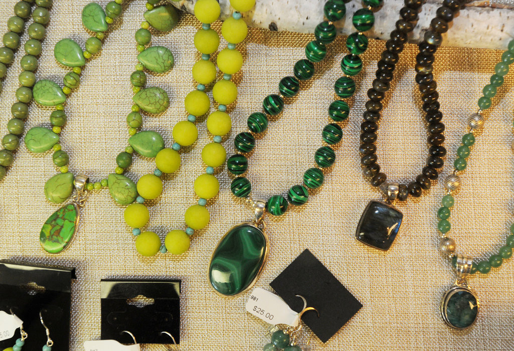 . Jewelry by local artist, Lucy Elliott, of Stockholm on display at Abode Gallery in Stockholm. (Pioneer Press: Ginger Pinson)