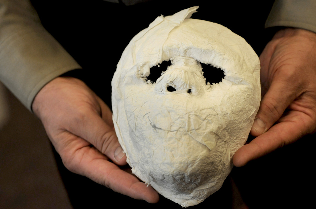 . A mask made from paper and toothpaste was created by an inmate at the Dakota County Jail. (Pioneer Press: Jean Pieri)