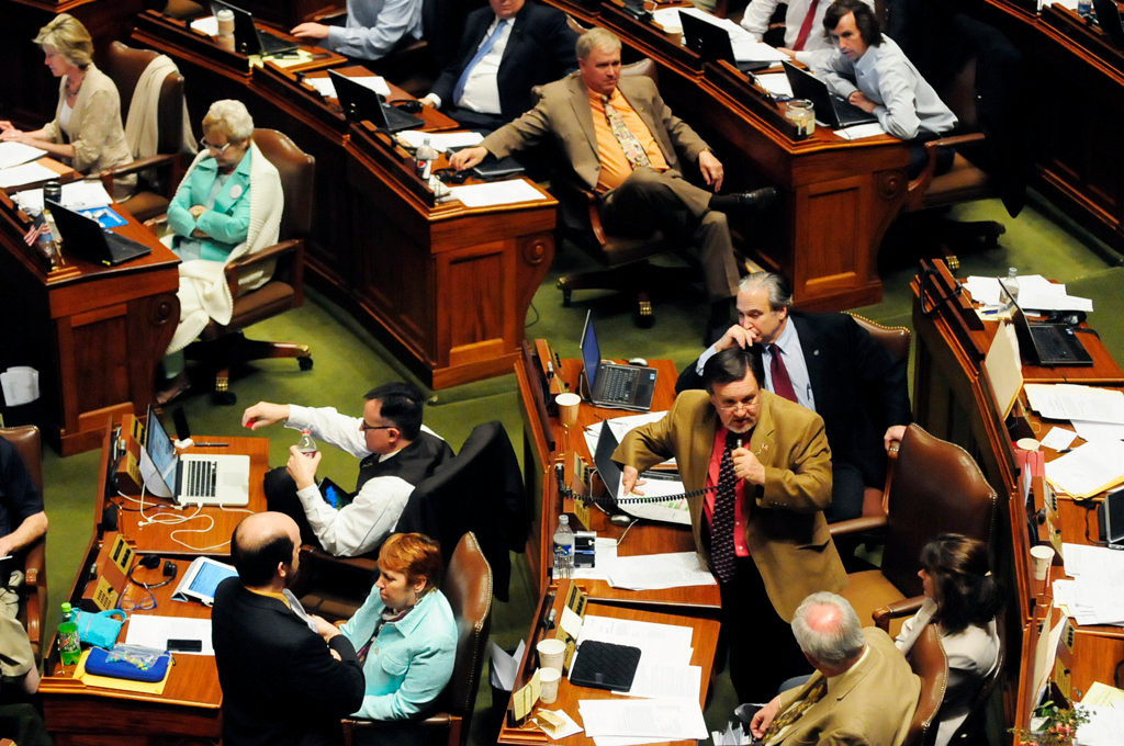 . Rep. John Ward, DFL-Baxter, standing, speaks about the bonding bill from the floor of the House of Representatives.   (Pioneer Press: Scott Takushi)