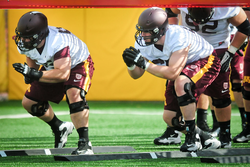 . Offensive linemen Josh Campion, left, and Luke McAvoy. (Pioneer Press: Ben Garvin)