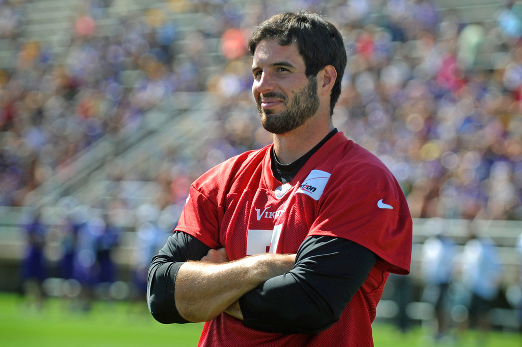 . Vikings quarterback Christian Ponder appears relaxed on the last day of training camp.  (Pioneer Press: Chris Polydoroff)