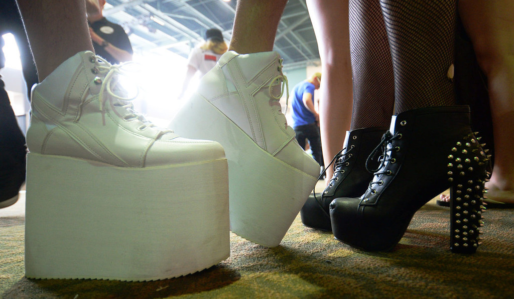 . A sampling of some of the outrageous footwear Lady Gaga fans were wearing to the show.  (Pioneer Press: John Autey)