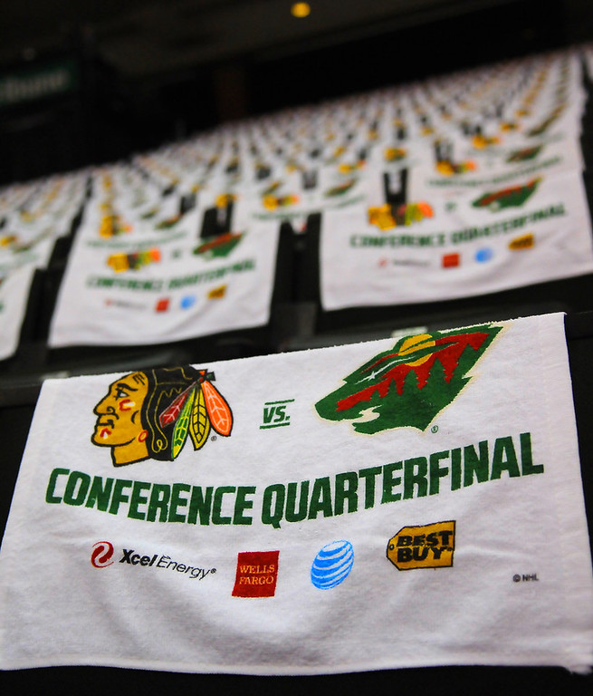 . Commemorative towels drape the back of the seats at the Xcel Energy Center before the start of Game 3 against the Blackhawks. (Pioneer Press: John Autey)