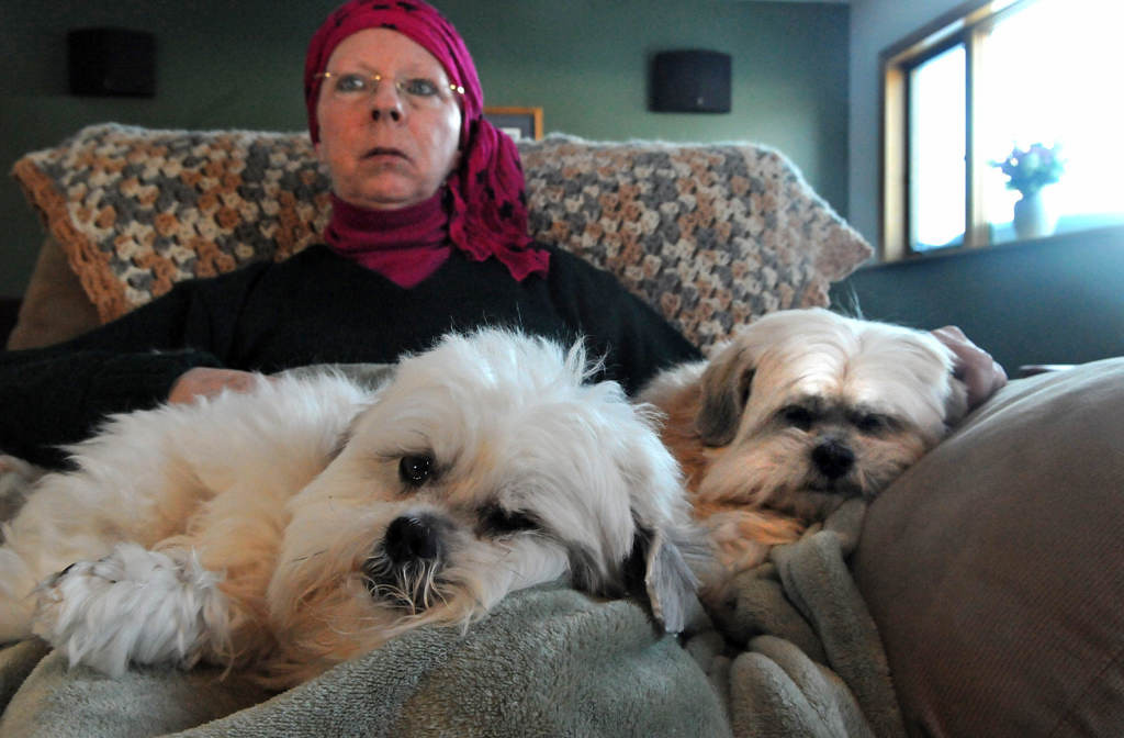 . Clark watches a war drama on television with her Lhasa Apsos, Ozzie, left, and Beanie. Clark\'s oncologist suspects exposure to contaminated water while stationed at Camp Lejeune, N.C. for her cancer.  (Pioneer Press: Jean Pieri)