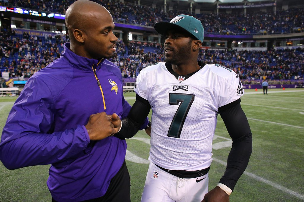 """. <p><b> Vikings star running back Adrian Peterson was no doubt disappointed to learn late last week that � </b> <p> A. The Vikings will not be signing his choice for quarterback, Michael Vick <p> B. New coach Mike Zimmer isn�t too interested in his opinion <p> C. All of the above <p><b><a href=\' http://www.twincities.com/sports/ci_25287219/vikings-adrian-petersons-quarterback-pick-michael-vick\' target=\""""_blank\"""">HUH?</a></b> <p>    (Adam Bettcher/Getty Images)"""