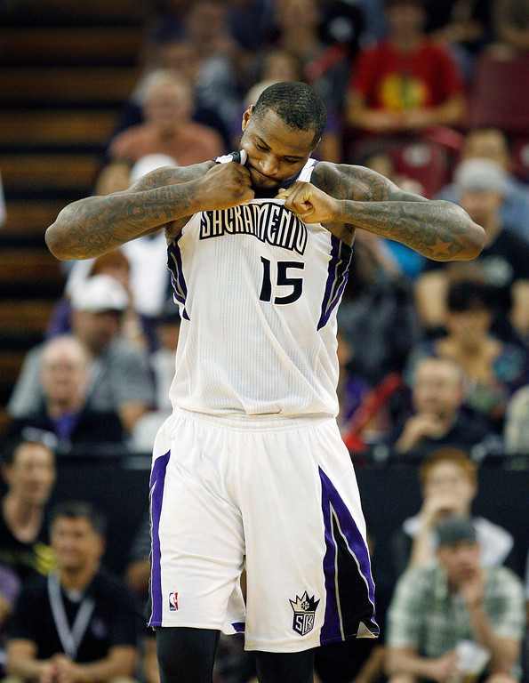 . Sacramento Kings center DeMarcus Cousins tears at his jersey after drawing a technical foul against the Minnesota Timberwolves during the second half.(AP Photo/Steve Yeater)