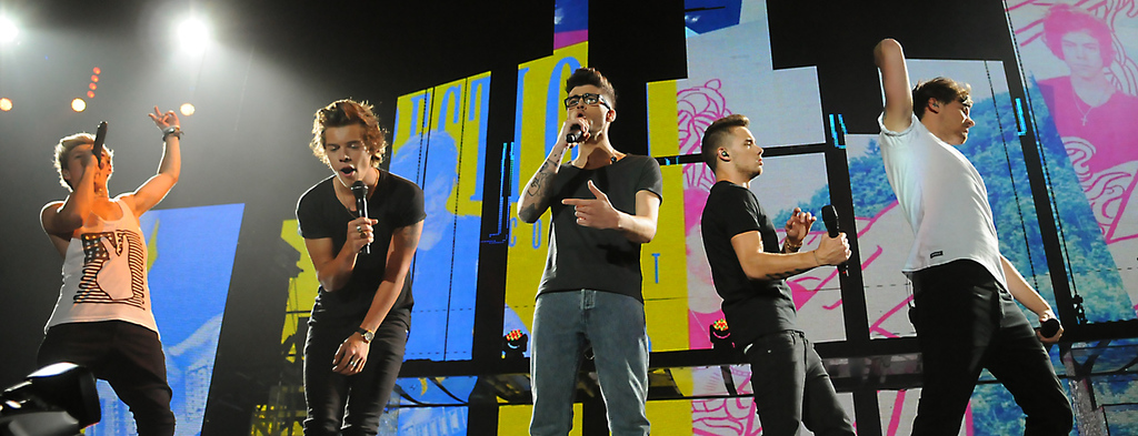 . From left to right: Niall Horan, Harry Styles, Zayn Maik, Liam Payne and Louis Tomlinson from the band One Direction perform at their concert at the Target Center, in Minneapolis, Thursday, July 18, 2013.  (Pioneer Press: John Autey)