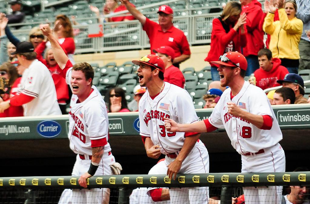 . Nebraska players react after second baseman Pat Kelly hit a three-run homer in the fourth inning. (Pioneer Press: Ben Garvin)