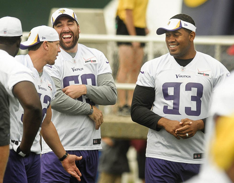 . From left, linebacker Chad Greenway, defensive end Jared Allen and defensive tackle Kevin Williams have a laugh. (Pioneer Press: Ben Garvin)